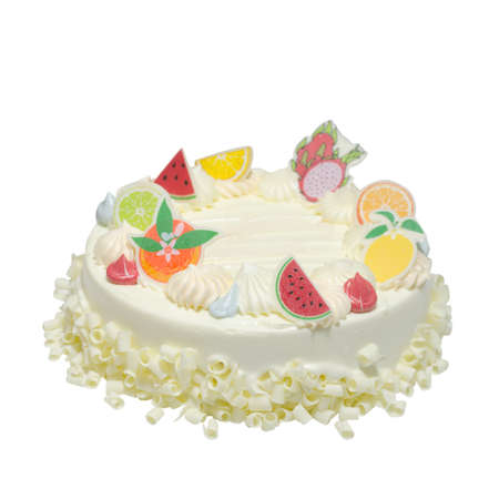 White birthday cake over white background with working path