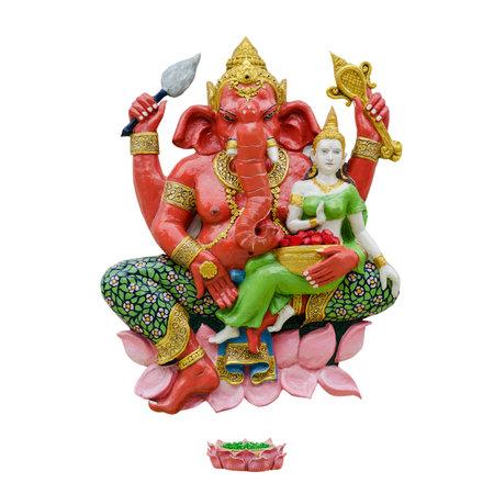 Indian God Ganesha or Hindu God Name Sankatahara Ganapati on white background with working path
