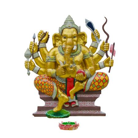 Hindu god Ganesha isolated on white background with working path