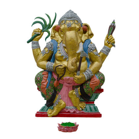 Indian God Ganesha or Hindu God Name Yoga Ganapati on white background with working path