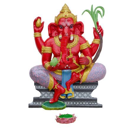 Indian God Ganesha or Hindu God Name Bala Ganapati on white background with working path Standard-Bild