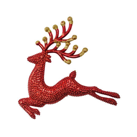 Red decorative Reindeer for decorate christmas tree on white background with working path