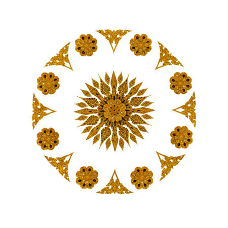 Golden Thai style art sculpture pattern on white background with working path Standard-Bild