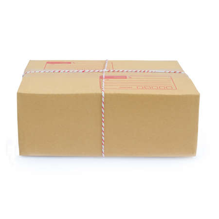 Cardboard box package parcel isolated on white