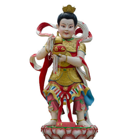 Child God Of Wealth name Shan Chai Tong Zi on white background with working path Standard-Bild