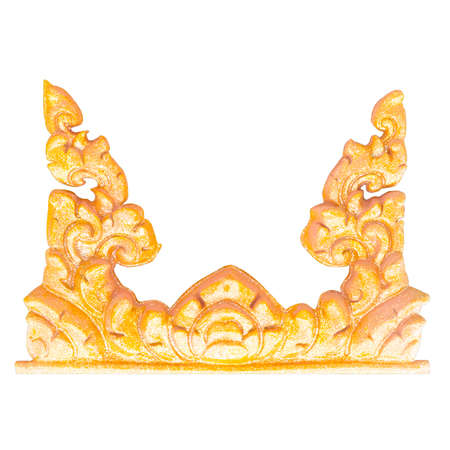 Golden Thai style stucco on white background with working path