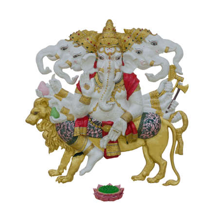 five-headed iconographical form of the Hindu god Ganesha (Ganapati) on white background with working path