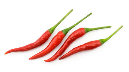 Hot chili pepper or small chili padi, line up, isolated on white background