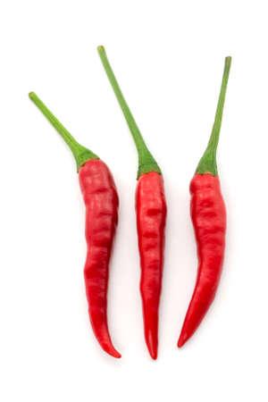 padi: Hot chili pepper or small chili padi isolated on white background Stock Photo