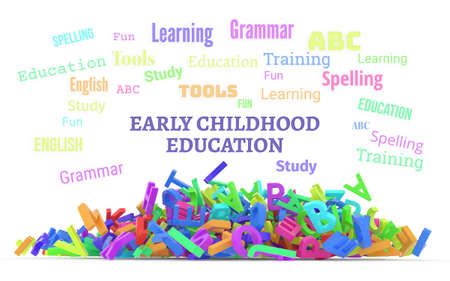 Early childhood education conceptual word cloud with stack of colorful alphabets letters from A to Z, isolated on white background, 3D rendered image