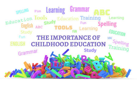 The importance of childhood education conceptual word cloud with stack of colorful alphabets letters from A to Z, isolated on white background, 3D rendered image Stock Photo