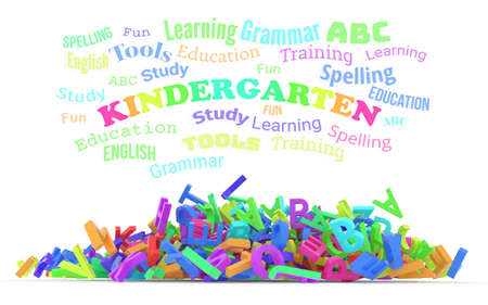 Kindergarten word cloud with stack of colorful alphabets letters from A to Z for education or learning conceptual, isolated on white background, 3D rendered image Stock Photo