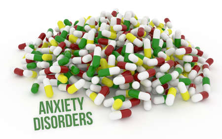 Anxiety disorders, health conceptual with bunch of capsules, medicine or pills, isolated on white background, 3D rendering image