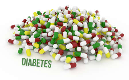 Diabetes, health conceptual with bunch of capsules, medicine or pills, isolated on white background, 3D rendering image Stock Photo