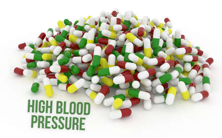 High blood pressure, health conceptual with bunch of capsules, medicine or pills, isolated on white background, 3D rendering image