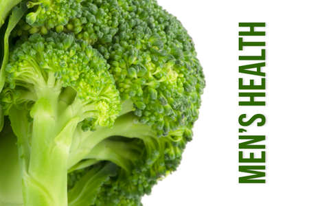 Mens health, health concept, macro close up & selective focus of broccoli, isolated on white background Stock Photo