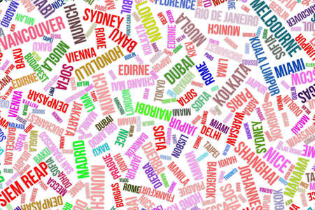 Colorful city names word cloud for travel destinations conceptual, for design wallpaper, texture or background Stock Photo