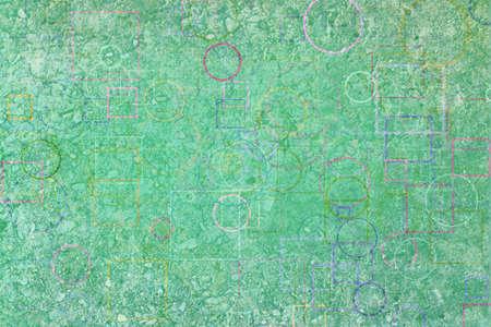 Random circle, square & rectangle shape, digital generative art for design texture & background, grunge & rough