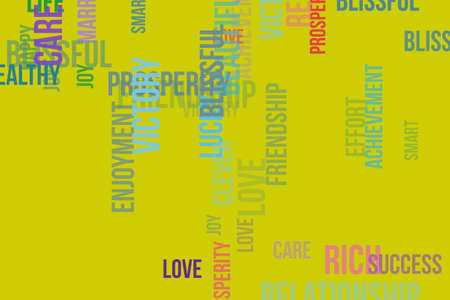 Happy word cloud, for design wallpaper, texture or background.