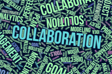 Collaboration, business conceptual word cloud for for design wallpaper, texture or background