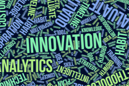 Innovation, business conceptual word cloud for for design wallpaper, texture or background