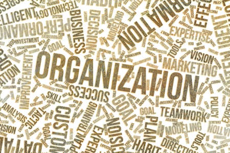 Organization, business conceptual word cloud for for design wallpaper, texture or background, grunge & rough Stockfoto
