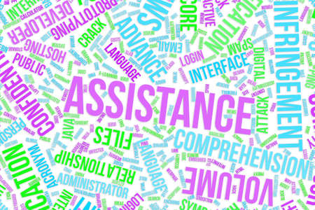 Assistance, IT, information technology conceptual word cloud for for design wallpaper, texture or background Banque d'images