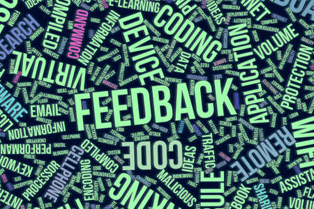 Feedback, IT, information technology conceptual word cloud for for design wallpaper, texture or background