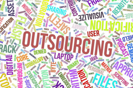 Outsourcing, IT, information technology conceptual word cloud for for design wallpaper, texture or background