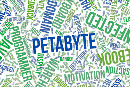 Petabyte, IT, information technology conceptual word cloud for for design wallpaper, texture or background Stock Photo