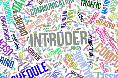 Intruder, IT, information technology conceptual word cloud for for design wallpaper, texture or background