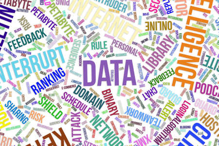Data, IT, information technology conceptual word cloud for for design wallpaper, texture or background