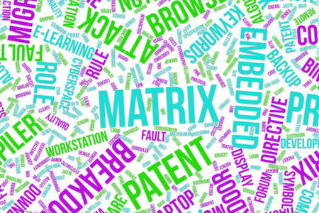 Matrix, IT, information technology conceptual word cloud for for design wallpaper, texture or background