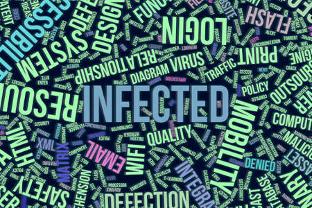 Infected, IT, information technology conceptual word cloud for for design wallpaper, texture or background