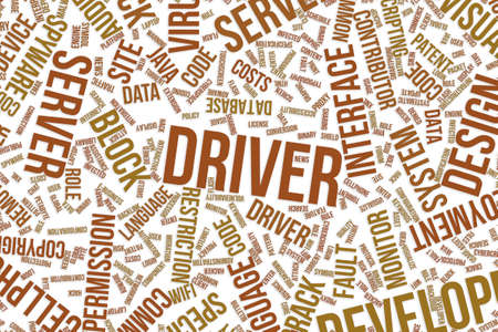 Driver, IT, information technology conceptual word cloud for for design wallpaper, texture or background Stock Photo