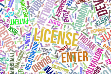 License, IT, information technology conceptual word cloud for for design wallpaper, texture or background