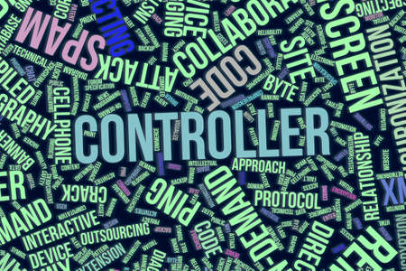Controller, IT, information technology conceptual word cloud for for design wallpaper, texture or background Stock Photo