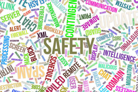 Safety, IT, information technology conceptual word cloud for for design wallpaper, texture or background Banque d'images