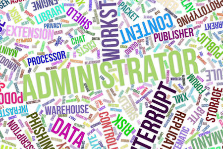 Administrator, IT, information technology conceptual word cloud for for design wallpaper, texture or background