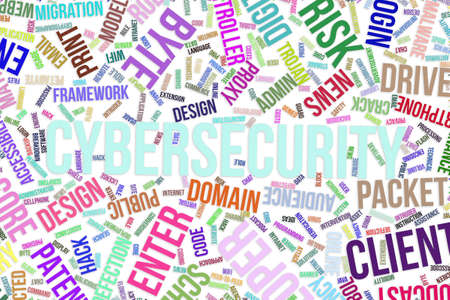 Cybersecurity, IT, information technology conceptual word cloud for for design wallpaper, texture or background
