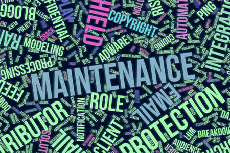Maintenance, IT, information technology conceptual word cloud for for design wallpaper, texture or background