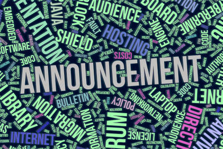 Announcement, IT, information technology conceptual word cloud for for design wallpaper, texture or background Foto de archivo