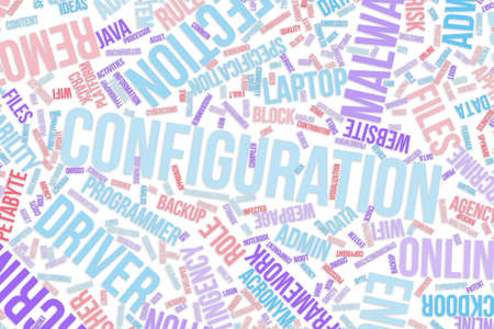 Configuration, IT, information technology conceptual word cloud for for design wallpaper, texture or background