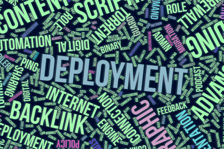 Deployment, IT, information technology conceptual word cloud for for design wallpaper, texture or background Stock Photo