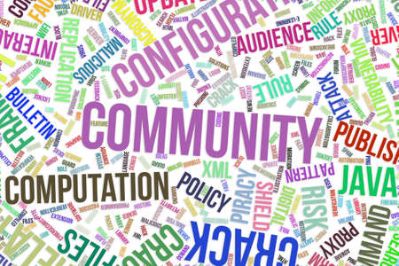 Community, IT, information technology conceptual word cloud for for design wallpaper, texture or background
