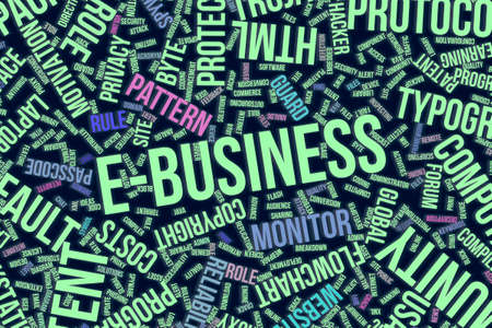 E-business, IT, information technology conceptual word cloud for for design wallpaper, texture or background
