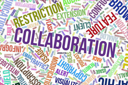 Collaboration, IT, information technology conceptual word cloud for for design wallpaper, texture or background Stock Photo