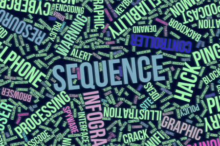 Sequence, IT, information technology conceptual word cloud for for design wallpaper, texture or background