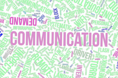 Communication, IT, information technology conceptual word cloud for for design wallpaper, texture or background Banque d'images