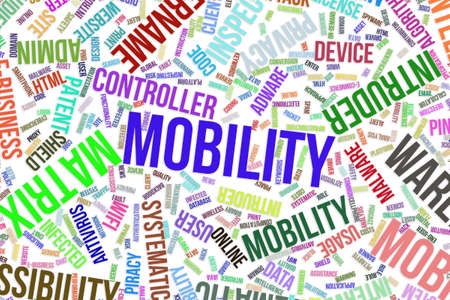 Mobility, IT, information technology conceptual word cloud for for design wallpaper, texture or background